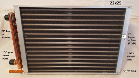"22X25 Water to Air Heat Exchanger~~1"" Copper Ports"