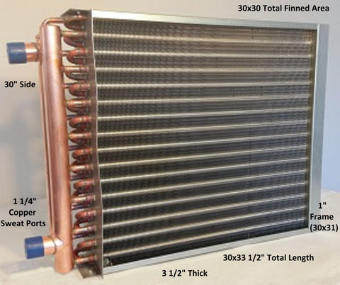 "30x30 Water to Air Heat Exchanger~~w/1-1/4""Copper ports w/ EZ Install Front Flange"