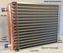 "30x30 Water to Air Heat Exchanger~~1 1/4"" Copper Ports With Install Kit"
