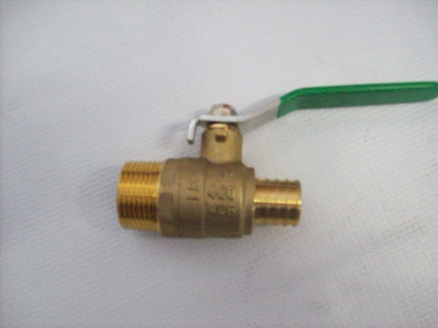 "1/2"" Male Pipe Threaded (MPT) Ball Valve X 1/2"" Pex~~Box of 10"