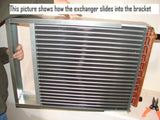 "12x15  Water to Air Heat Exchanger  1"" Copper Ports With Install Kit"