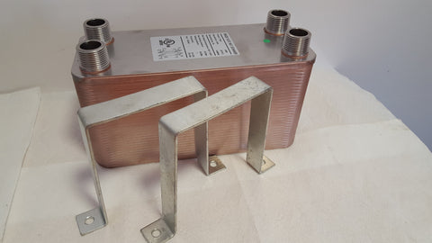 "90 Plate Water to Water Brazed Plate Heat Exchanger 1 1/4"" MPT Ports w/ Brackets"