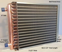 "8x8 Water to Air Heat Exchanger 1"" Copper Ports With Install Kit"
