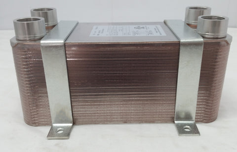 "50 Plate Water to Water Brazed Plate Heat Exchanger 1"" FPT Ports w/ Brackets"