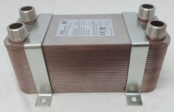 "40 Plate Water to Water Brazed Plate Heat Exchanger 1"" MPT Ports w/ Brackets"
