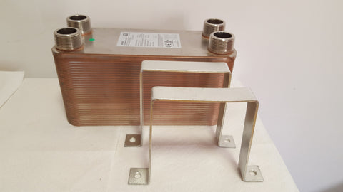 "60 Plate Water to Water Brazed Plate Heat Exchanger 1 1/4"" MPT Ports w/ Brackets"