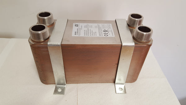 "100 Plate Water to Water Brazed Plate Heat Exchanger 1 1/4"" MPT Ports w/ Brackets"