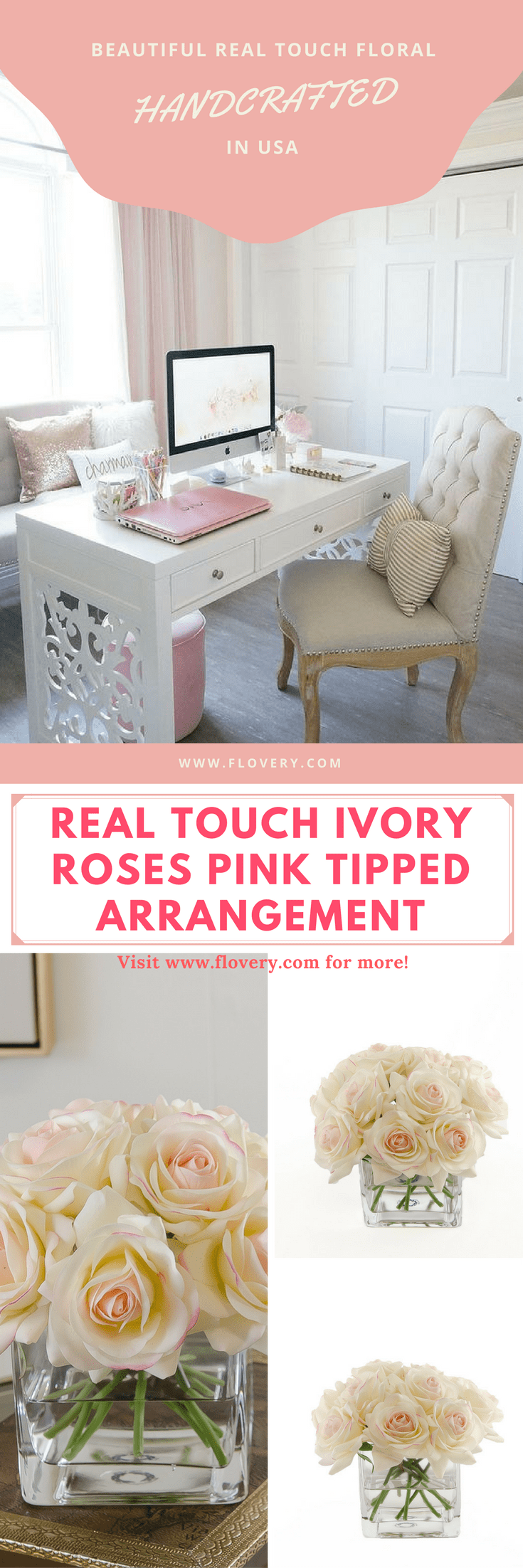 Real touch pink rose arrangement