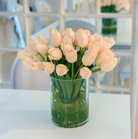 Large Real Touch Pink Tulip Cylinder Arrangement