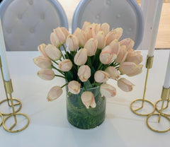 Large Real Touch Pink Tulip Cylinder Arrangement - Flovery