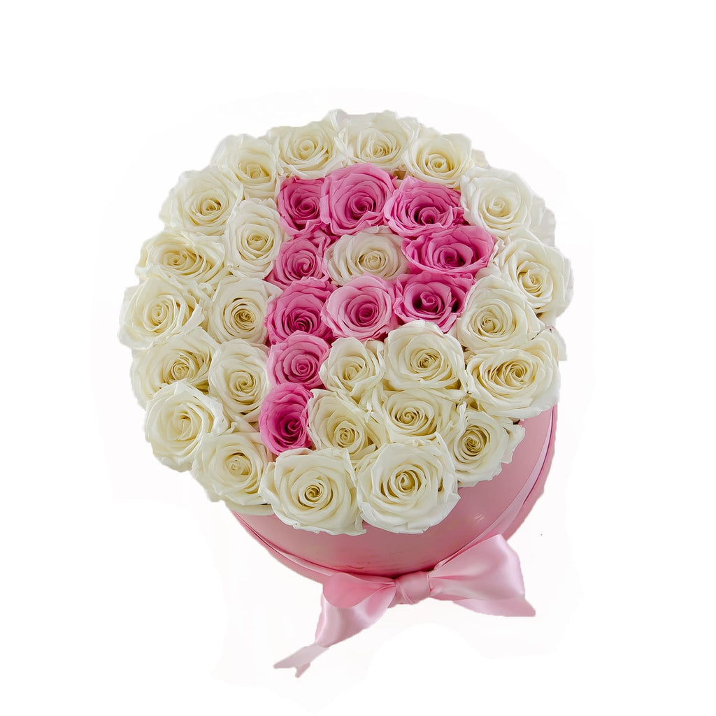 Medium Round Box Custom Letter Preserved Roses