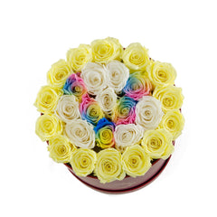 Medium Round Box Custom Letter Preserved Roses - Flovery
