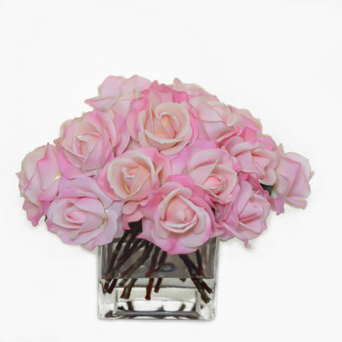 Large Real Touch Pink Rose Square Arrangement
