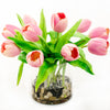 Real Touch Pink Tulip Arrangement Round Vase