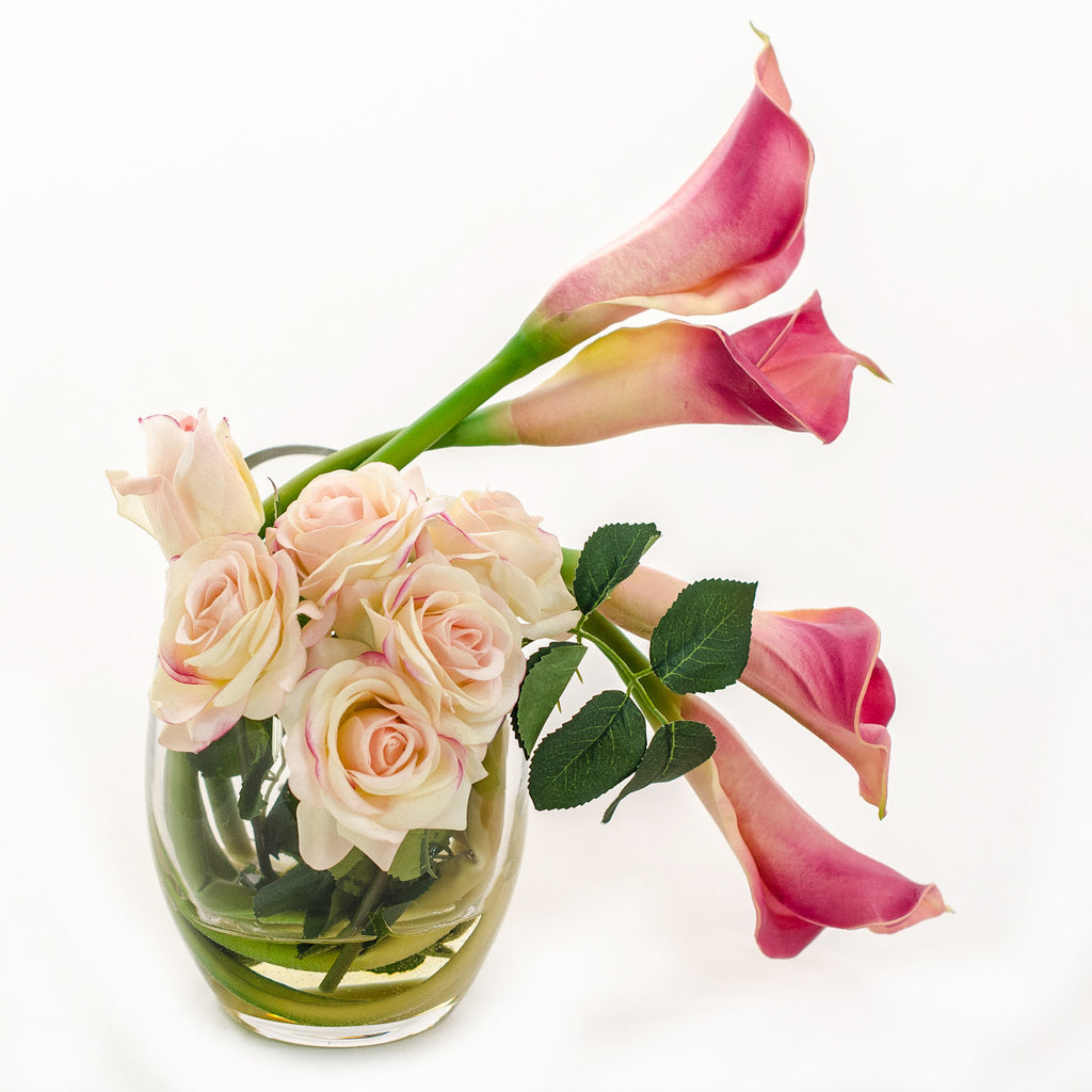 Real Touch Pink Calla Lilies Roses Bubble Arrangement