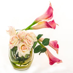 Real Touch Pink Calla Lilies Roses Bubble Arrangement - Flovery
