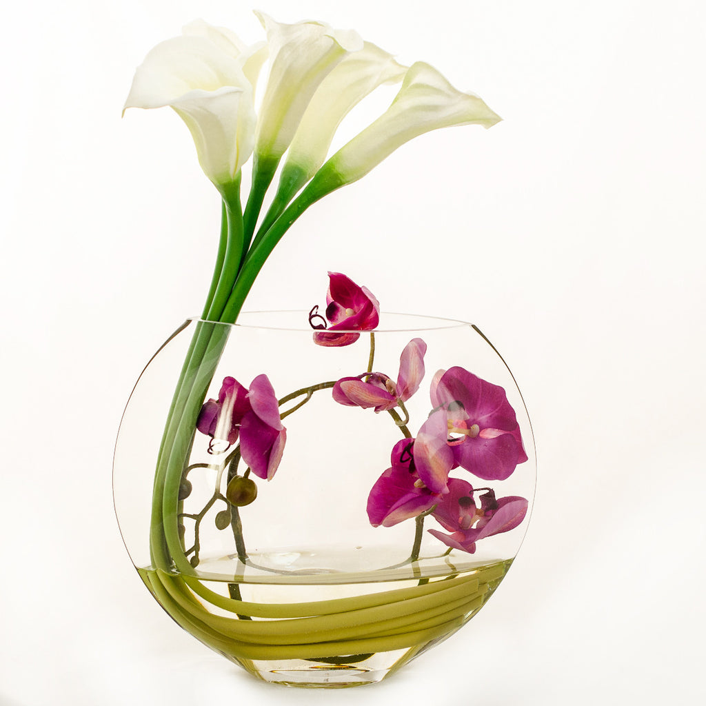 White Real Touch Calla Lily Purple Orchid Arrangement