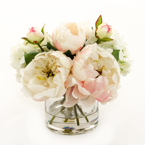 Light Pink Silk Peonies Buds Hydrangeas Arrangement