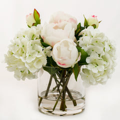 Light Pink Silk Peonies Buds Hydrangeas Arrangement - Flovery