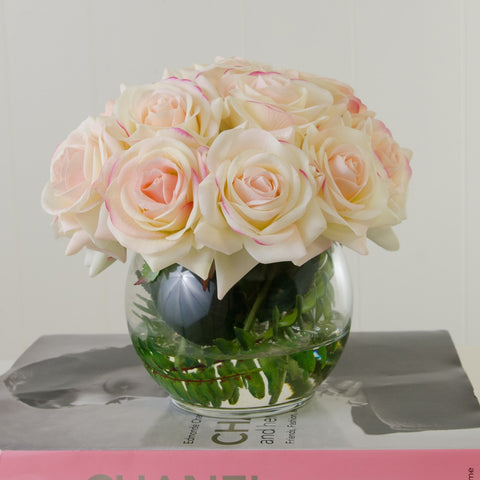 Real Touch Ivory Roses Pink Tipped Round Arrangement