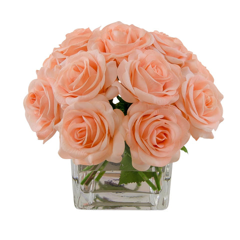 Silk Peach Roses Square Vase Arrangement