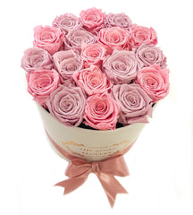 Medium Signature Round Box Eternity Roses - Flovery