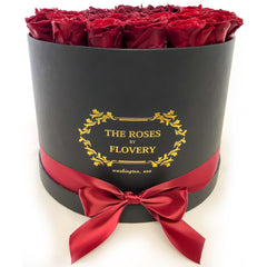 Large Signature Round Box Eternity Roses - Flovery