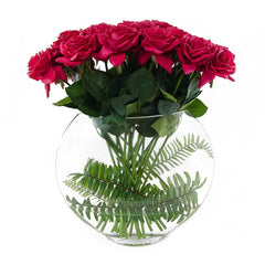 2 Dozens Real Touch Red Roses Half Moon - Flovery