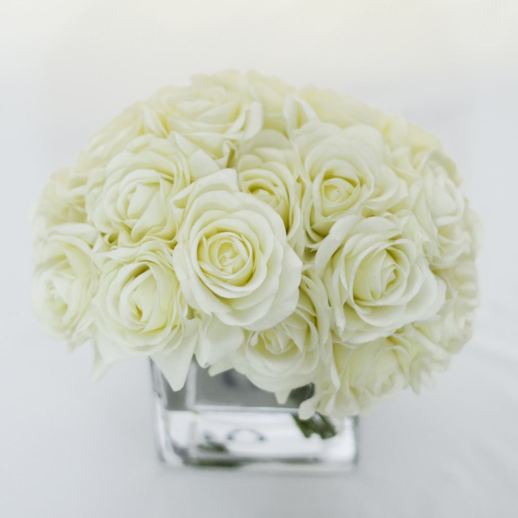 Real Touch White Roses Arrangement
