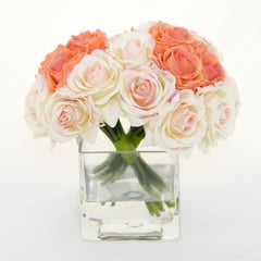 Real Touch Peach Orange Light Pink Ivory Roses Arrangement - Flovery