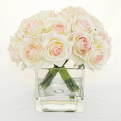 Real Touch Ivory Roses Pink Tipped Arrangement - Flovery