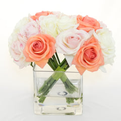 Real Touch Peach Orange Roses Light Pink Roses Arrangement