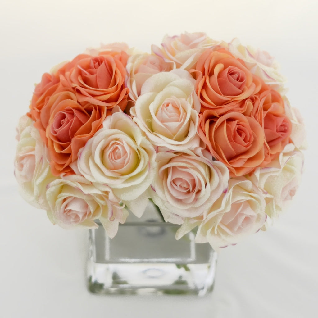 Real Touch Peach Orange Light Pink Ivory Roses Arrangement