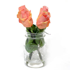 Real Touch Orange Pink Bud Rose Mason Jar Arrangement