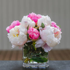 Silk White Light Pink Touched Peony Arrangement