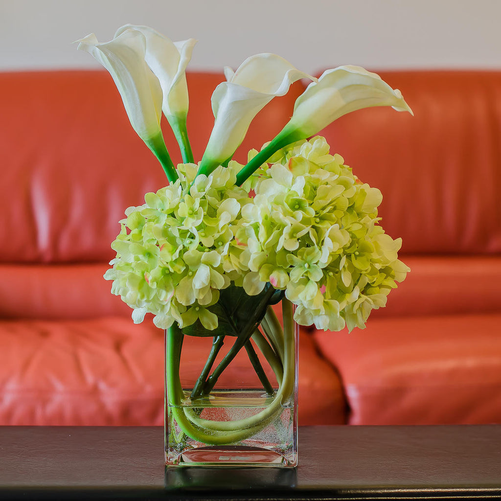 Silk green hydrangea with real touch calla lily arrangement flovery silk green hydrangea with real touch calla lily arrangement izmirmasajfo