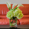 Silk Green Hydrangea with Real Touch Calla Lily Arrangement