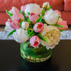 Silk White Peony & Real Touch Pink Tulip Arrangement