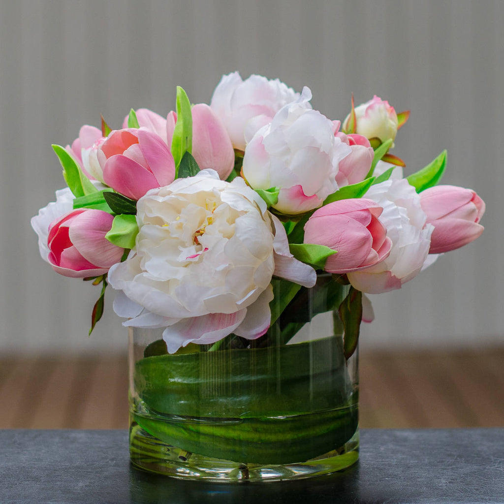 Silk White Peony Amp Real Touch Pink Tulip Arrangement Flovery