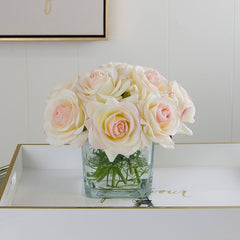 Real Touch Ivory Roses Pink Tipped Greenery Arrangement