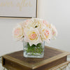 Real Touch Ivory Roses Pink Tipped Greenery Arrangement - Flovery