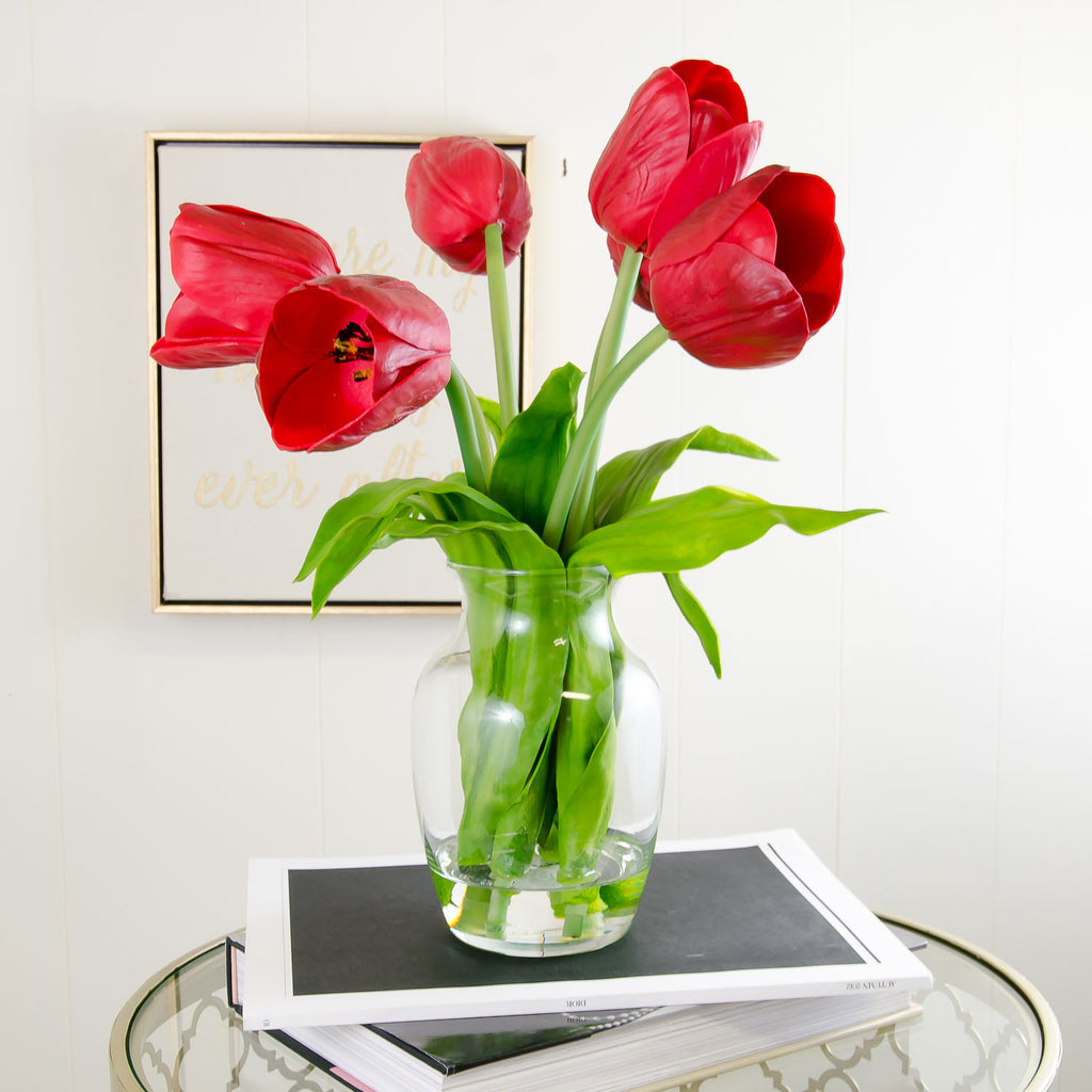 Real Touch Red Tulip Glass Vase Arrangement