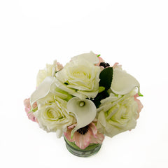 White Real Touch Roses Pink Poppies Calla lilies Arrangement