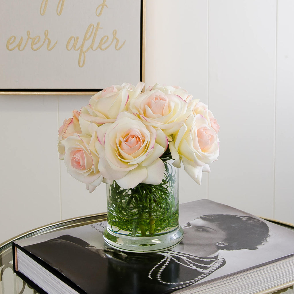 Real Touch Ivory Roses Pink Tipped Square Arrangement