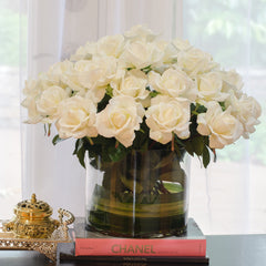 Very Large White Real Touch Rose Cylinder Arrangement - Flovery