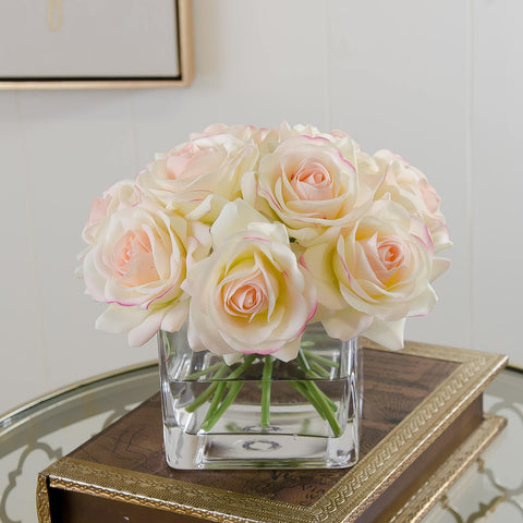Real Touch Ivory Roses Pink Tipped Arrangement