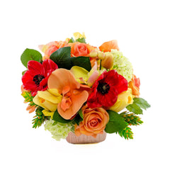 Real Touch Red Yellow Roses Poppies Green Arrangement