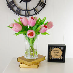 Medium Real Touch Pink Tulip Cylinder Arrangement - Flovery