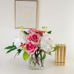 Real Touch Fuschia Pink Roses White Silk Peonies Arrangement