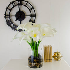Large Real Touch White Calla Lilies Pebbles Arrangement - Flovery